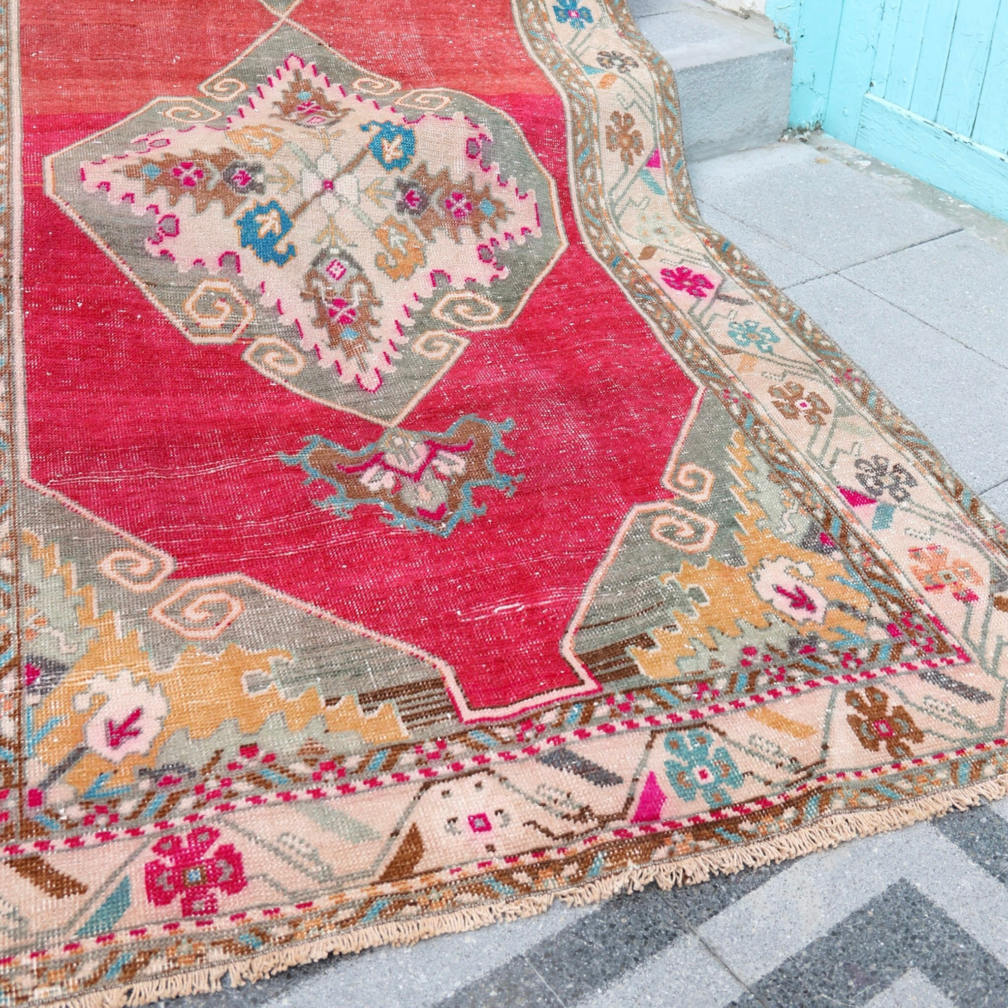 ON HOLD 1172 Gül 3'7x10'10 Handwoven Vintage Rug