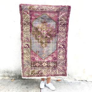 This handwoven vintage Turkish rug has great purple crones and olive accents. Perfect size for kitchen or bath!   2'8x3'11.