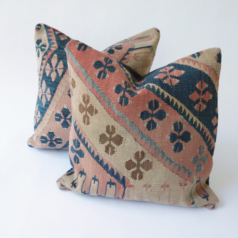 ON HOLD Betty Kilim Pillow Pair 16x16