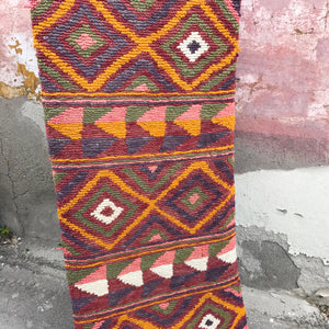 This vintage Turkish runner is a find! Amazing pinks, purples, greens, and yellows in a geometric pattern.  This Çanakkale runner has a high, soft pile. 2'4x6'6