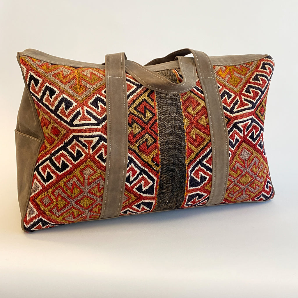 Kilim & Leather Overnight Bag #39 (w/ side pockets)