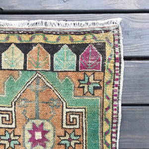 S82 Small Handwoven Vintage Rug 20x42