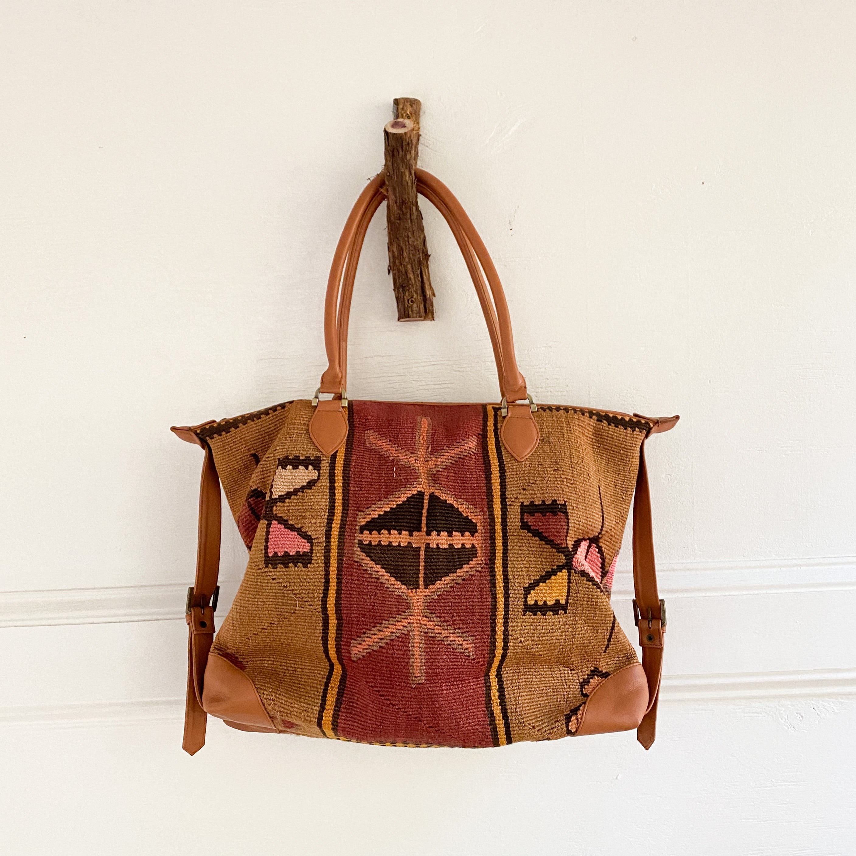 ON HOLD Kilim & Leather Day Bag #32