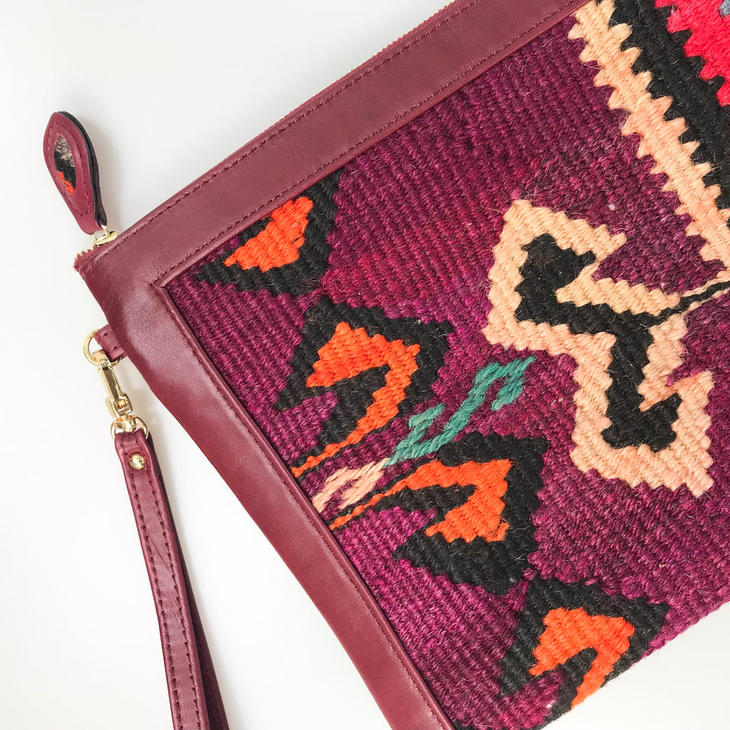 Custom handmade one-of-a-kind kilim and leather clutch bag