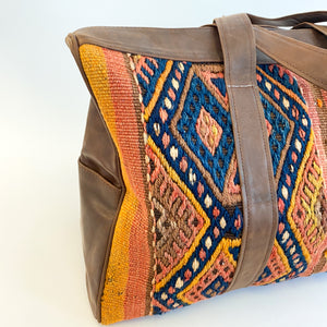 Kilim & Leather Overnight Bag #40 (w/ side pockets)