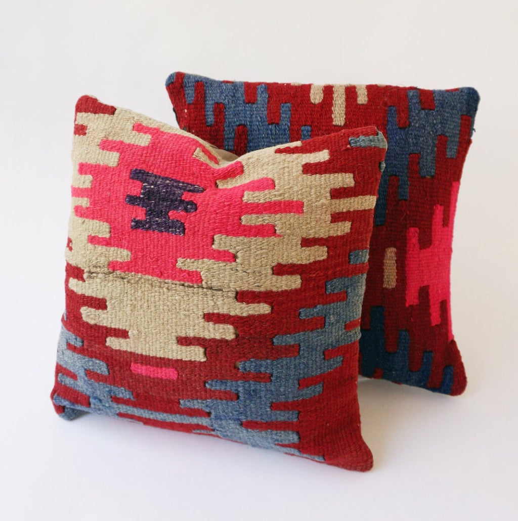 014 Kilim Pillow Pair 16x16