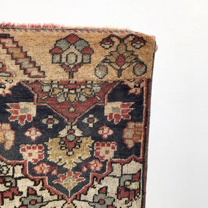 This handwoven vintage Turkish rug not only has great colors, it has a great story. This rug was made as a sample design pattern for a large rug. No paper? Just sketch it on the loom! Super soft pile. Great for entryways, bathrooms, kitchens and layering. 2'10x3'9