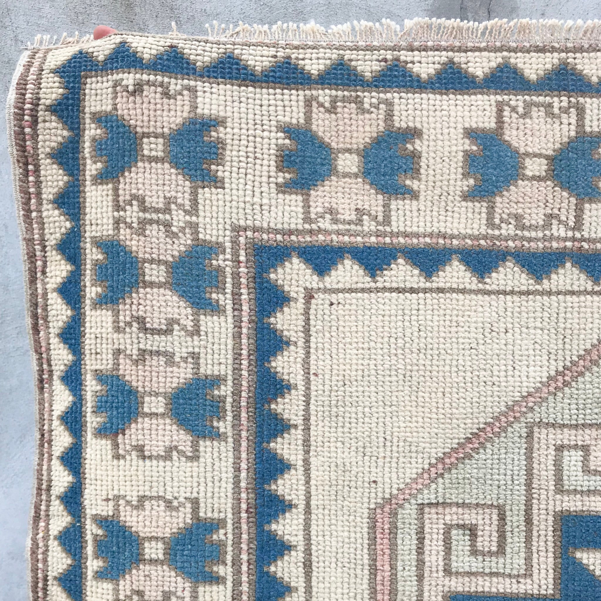 handwoven vintage turkish rug pink and blue