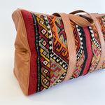 Kilim & Leather Overnight Bag #38 (w/ side pockets)