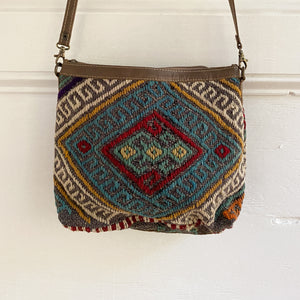 ON HOLD Kilim & Leather Crossbody / Pocketbook #35