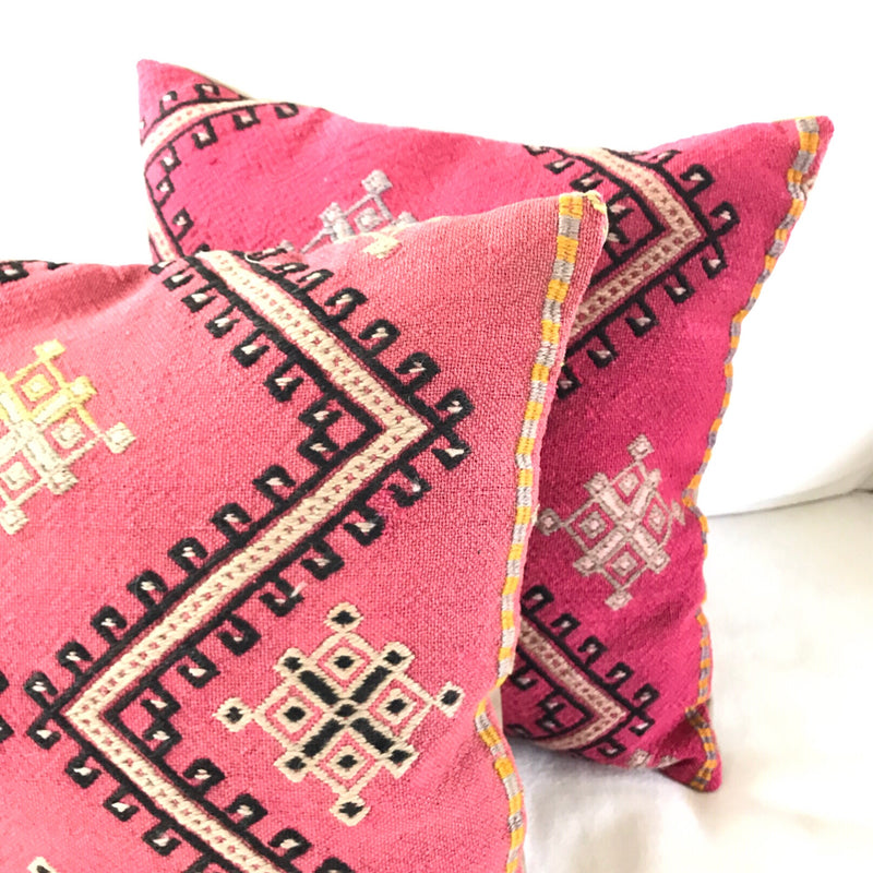 Pink Cicim Pillow Pair 18x18