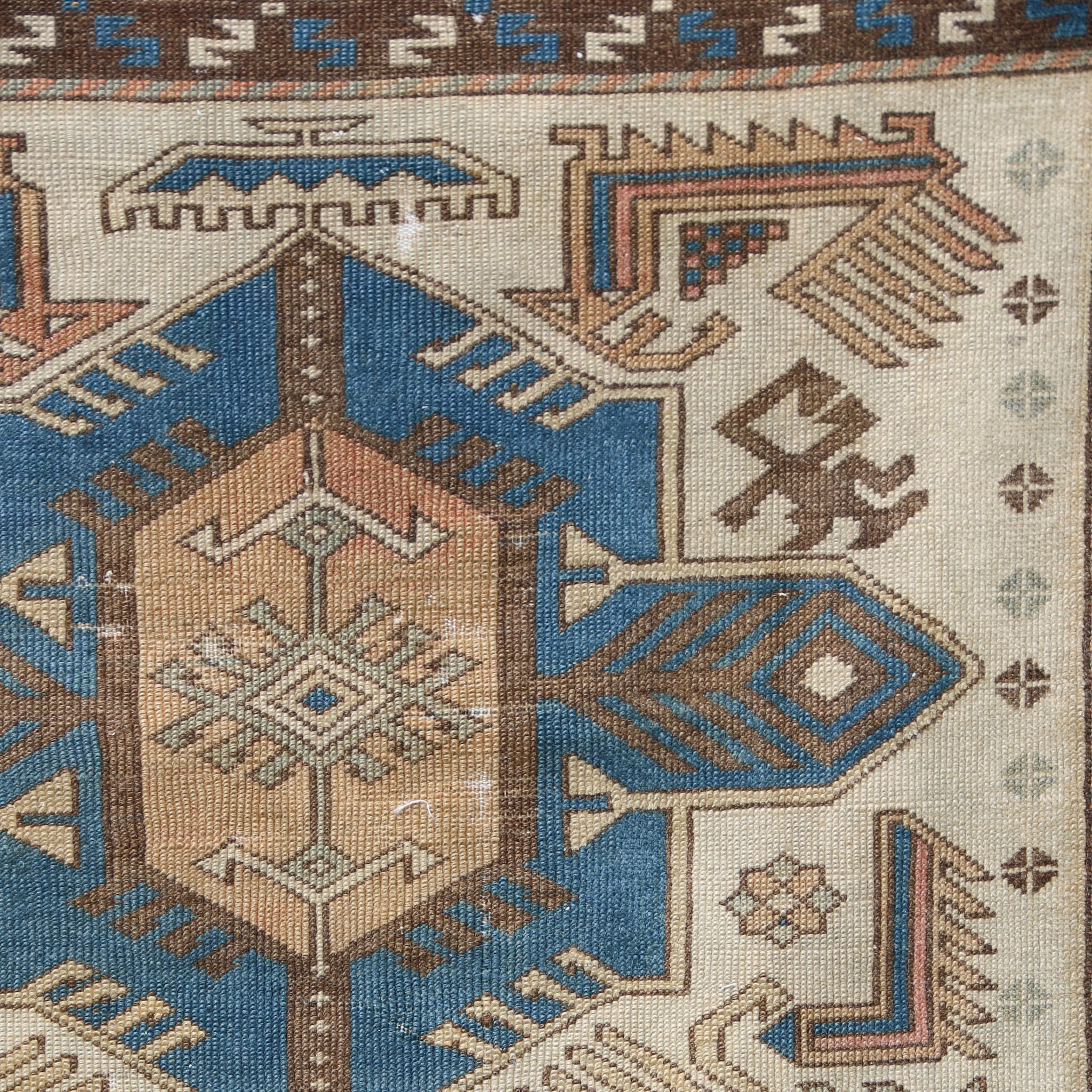 This handwoven vintage Turkish rug is a great neutral with blue accents. Kars.