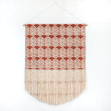Scallop Block Print Fringe Wall Hanging in Burnt Orange 33 x 42 inches