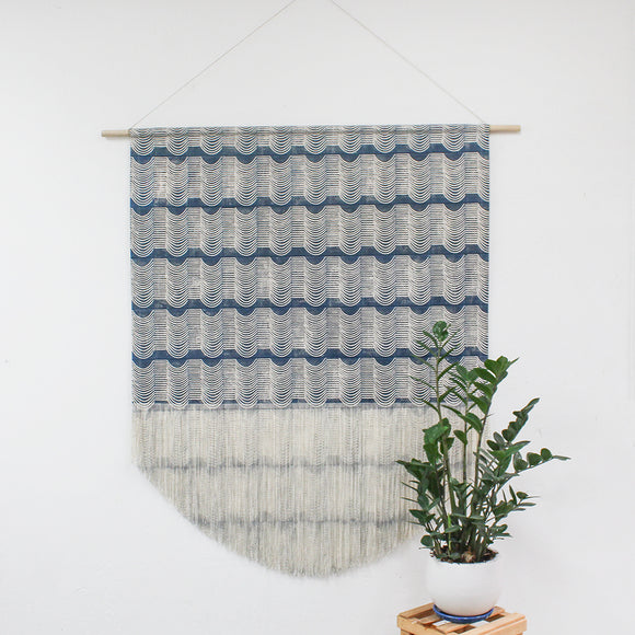 Large Wave Wall Hanging in Blue