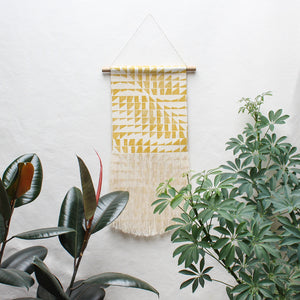 Angle Wave Block Print Fringe Wall Hanging in Yellow