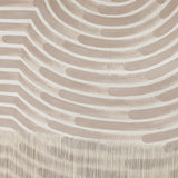 Large Painted Wave Fringe Wall Hanging in Beige