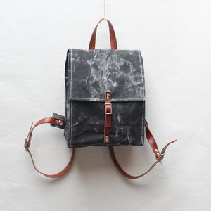 Black Marble Hand Painted Small Backpack