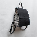 Black with Evil Eye Block Print Small Backpack