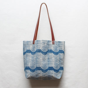 Wave Block Print Tote Bag in Blue