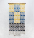 Color Block Layered Wave Wall Hanging in Yellow, Blue and Black
