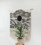 Crop Circle Painted Stripe Fringe Wall Hanging in Black