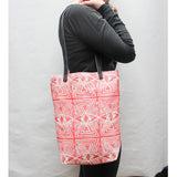 Evil Eye Block Print Small Tote Bag in Pink