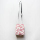 FU Pink Block Print Cross Body Tote Bag