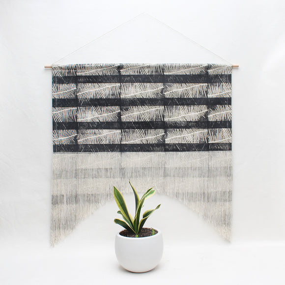 Fern Stripe Fringe Arch Wall Hanging in Black