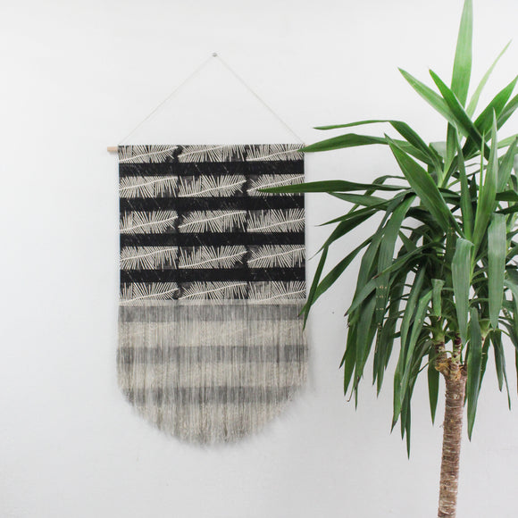 Fern Stripe Fringe Wall Hanging in Black