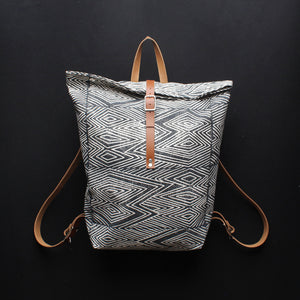 Flame Block Print Large Backpack