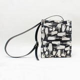 FU Black Block Print Cross Body Tote Bag