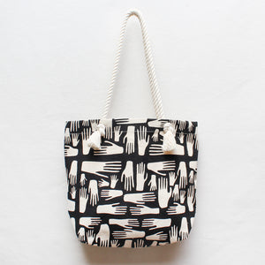 Hands Screen Print Rope Tote Bag