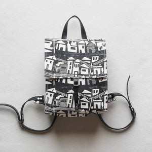 Houses Block Print Small Backpack
