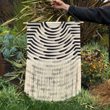 Medium Painted Stripe Fringe Wall Hanging in Black