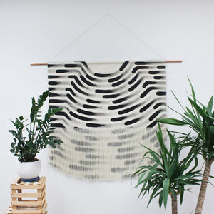 Large Painted Stripe Fringe Wall Hanging in Black