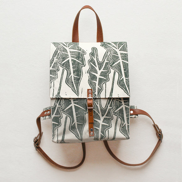 Leafy Block Print Small Backpack