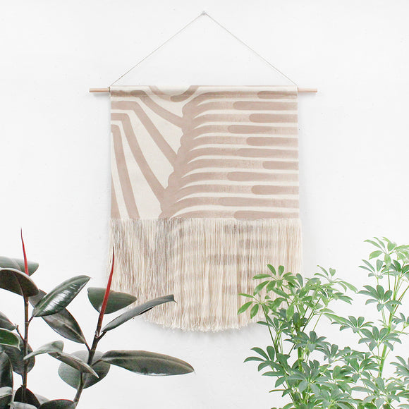 Medium Painted Fields Fringe Wall Hanging in Beige