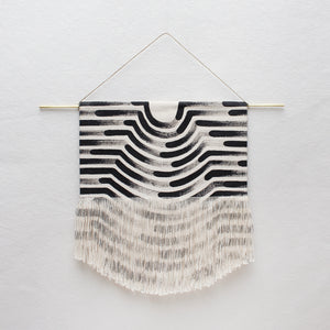 Small Painted Wave Fringe Wall Hanging in Black