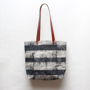 Fern Stripe Block Print Tote Bag