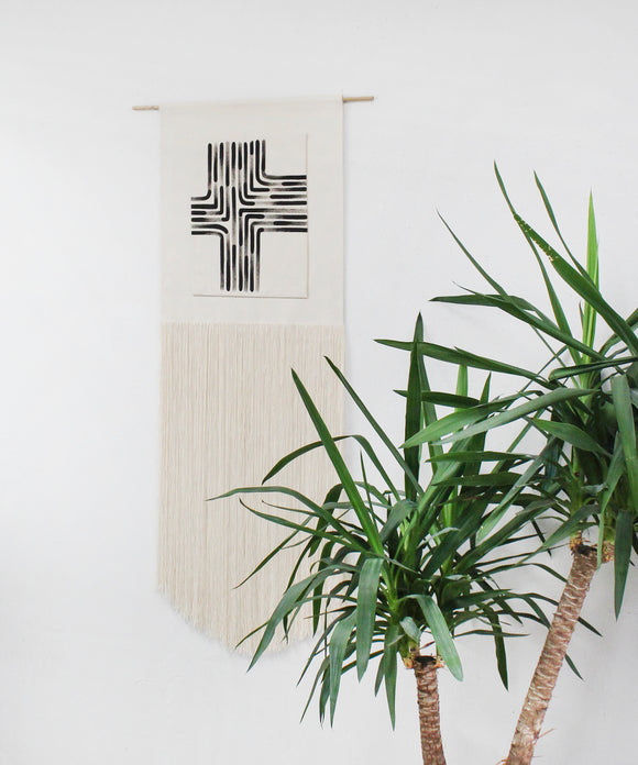 Painted Asymmetric Cross Fringe Wall Hanging in Black