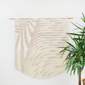 Large Painted Fields Fringe Wall Hanging in Beige