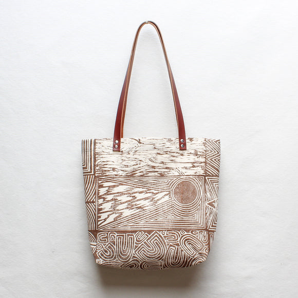 Patchwork Block Print Tote Bag in Brown