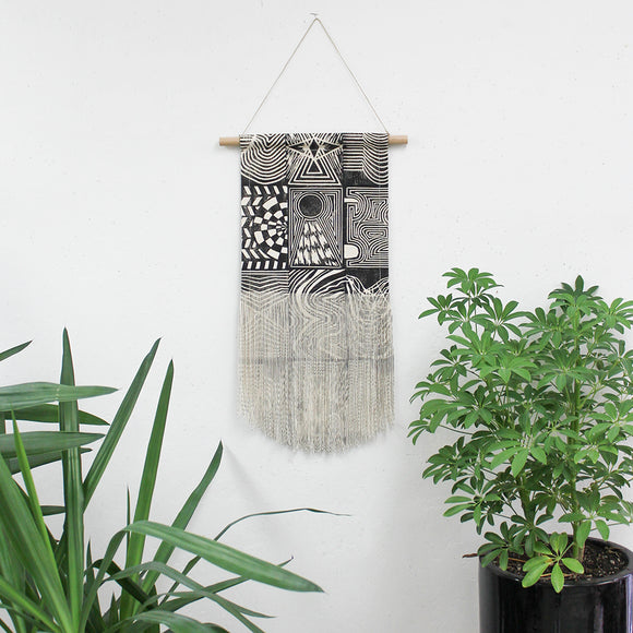 Medium Patchwork Wall Hanging in Black