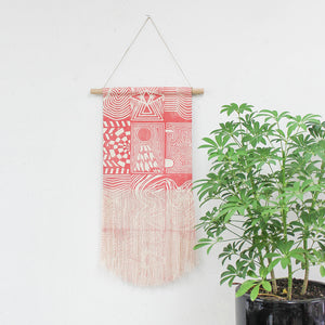 Medium Patchwork Wall Hanging in Pink
