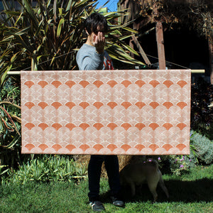Scallop Faux Headboard Wall Hanging Burnt Orange