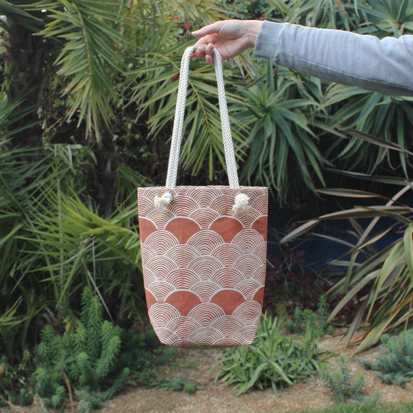 Scallop in Burnt Orange Block Print Small Tote Bag