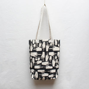 FU Block Print Small Tote Bag with Linen Handles