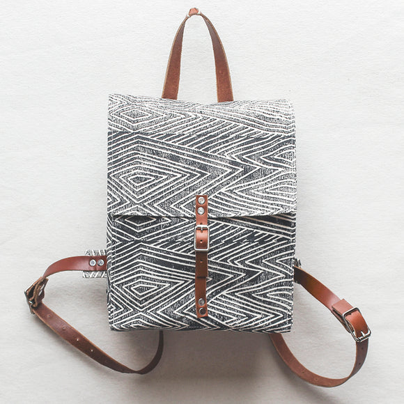 Flame Block Print Small Backpack