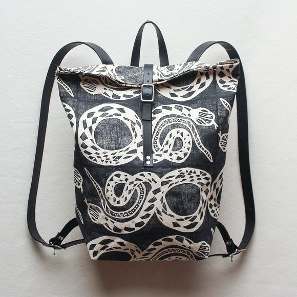 Snake Block Print Large Backpack