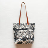Snake Block Print Tote Bag